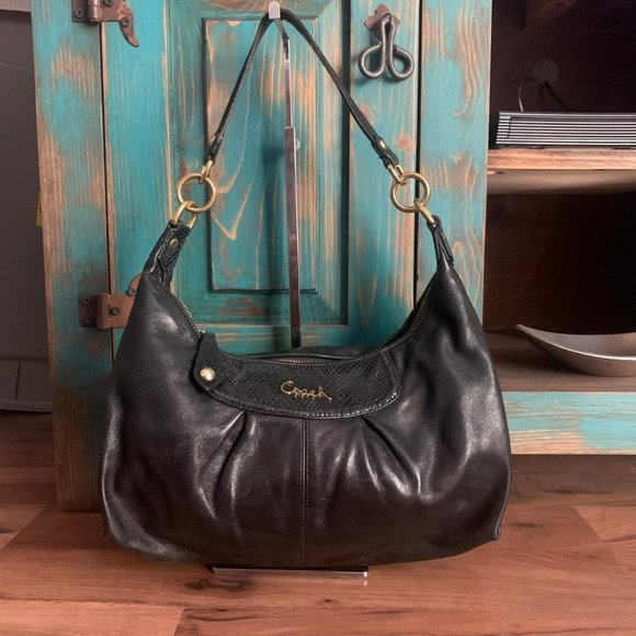 Coach Ashley Black Leather & Python Embossed Bag